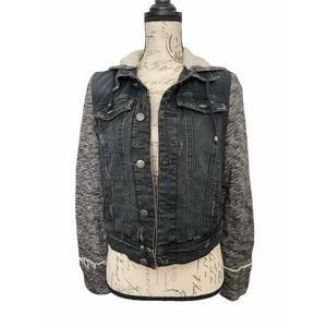 Free People Denim Knit Hooded Jacket Size Small